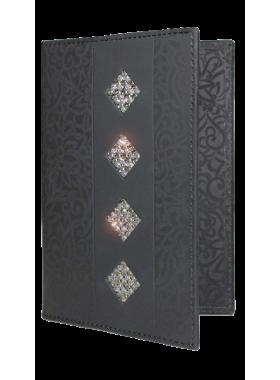 Бумажник водителя женский кожаный БС-12 black stone с кристаллами SWAROVSKI Kniksen черный