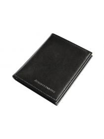 Обложка для автодокументов и паспорта натуральная кожа ОВ-4 Person черная