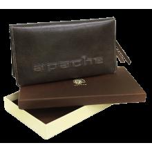Портмоне для документов из кожи на скрытых магнитах Вояж-2-A дымчато-коричневое Apache