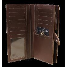 Портмоне-тревел мужское дорожное из натуральной кожи МК-S-8 коричневый Apache RFID