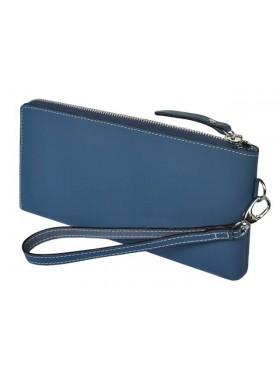 Портмоне кошелек большое ПО-RS Blue из натуральной кожи синий RS