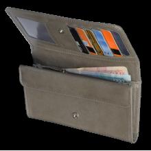 Портмоне кошелек кожаный женский С-ВП-2 друид серый Флауэрс