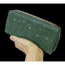 Кошелек портмоне женский на молнии из натуральной кожи Мэри ВП-1 друид зеленый Kniksen