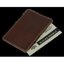 Картхолдер для карт мужской кожаный ФПК-3-S коричневый Apache с защитой от считывания RFID