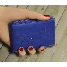 Визитница кредитница женская для пластиковых карт кожаная ВМ-9 Мэри синий Kniksen