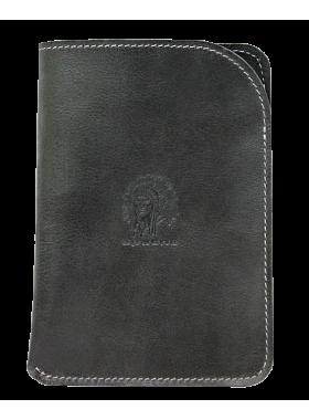 Чехол обложка для паспорта кожаная ОП-А дымчато-черная Apache