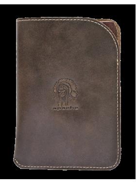 Чехол обложка для паспорта кожаная ОП-А дымчато-коричневая Apache