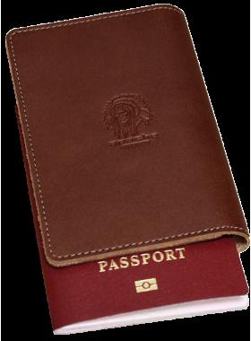 Обложка для паспорта кожаная ОП-S коричневая Apache с защитой RFID