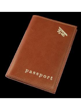 Обложка для паспорта из кожи А-ОП пулл-ап коричневый Авиатика