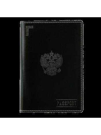 Обложка для паспорта кожаная О-ПО с тиснением Герб РФ и PASSPORT Эллада черный