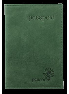 Обложка для паспорта женская кожаная С-ОП-1 друид зеленый Флауэрс