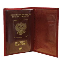Обложка для паспорта женская кожаная С-ОП-1 люкс красный Флауэрс