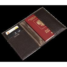 Обложка для паспорта натуральная кожа ОП-5-PS коричневая Person STOP RFID