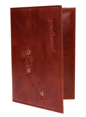 Обложка для паспорта женская кожаная ОПВ Мэри пулл-уп красный Kniksen