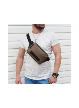 Поясная сумка для мужчин СП-5215-А канвас светло-коричневая Apache