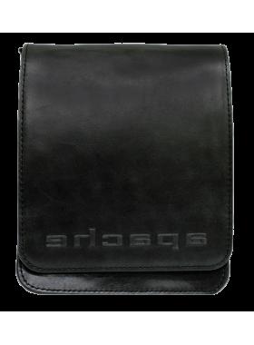 Сумка планшет из натуральной кожи дымчато-черная СМ-3013-А Apache