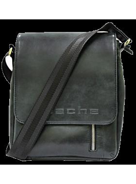 Сумка мужская планшет кожаная дымчато-черная СМ-4013-А Apache