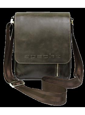 Сумка мужская планшет кожаная дымчато-коричневая СМ-4013-А Apache