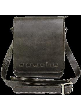 Сумка планшет из натуральной кожи дымчато-коричневая СМ-3013-А Apache