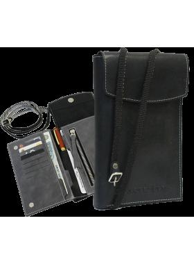 Сумка-кошелек нагрудный портмоне мужское кожаное на ремне СПК-L limited черный Apache