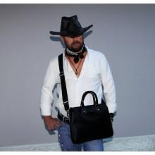 Мужская сумка на плечо из натуральной кожи 9313 черная Apache