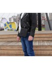 Мужская сумка планшет из кожи СМ-7013 дымчато-черная Apache