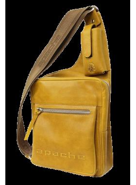 Сумка мужская нагрудная из кожи табачно-желтая СМ-2013-А Apache