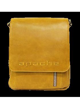 Сумка мужская планшет кожаная табачно-желтая СМ-4013-А Apache