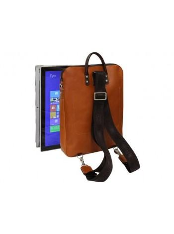 Городской модный сумка рюкзак трансформер кожаный 9713 рыжий Apache