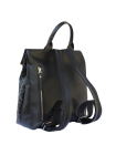Женский рюкзак из натуральной кожи Камелия-1 с узором Kniksen черный