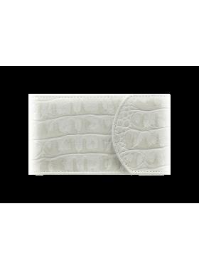 Визитница карманная женская из кожи С-ВМ-3 кайман белый Флауэрс