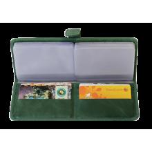 Большая визитница для пластиковых карт женская из кожи С-ВМ-6 друид зеленый Флауэрс