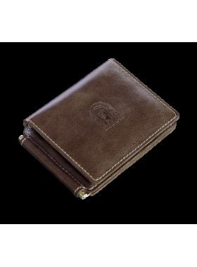 Кошелек с зажимом для денег и карт из натуральной кожи ОК-4-А дымчато-коричневый Apache