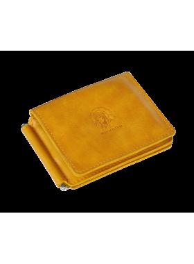 Кошелек с зажимом для денег и карт из натуральной кожи ОК-4-А табачно-желтый Apache