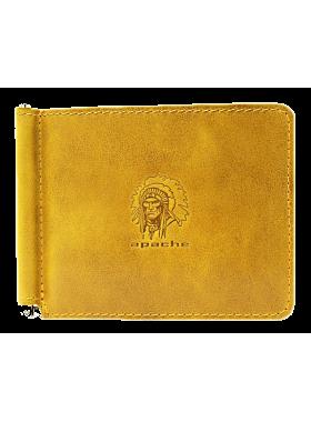 Зажим для денег из натуральной кожи Apache ОК-А табачно-желтый