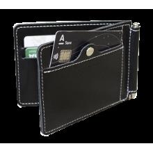 Зажим для денег и карт из кожи с защитой от сканирования RFID ОК-S черный Apache