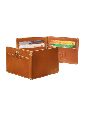 Зажим для денег и карт из кожи с защитой RFID ОК-S рыжий Apache